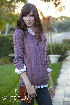 Sundance Cable Knit Sweater | White Plum
