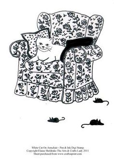 White Cat On Armchair Pen Ink Drawing Digi Stamp on Craftsuprint designed by Elaine Sheldrake - A pretty white cat sitting on an a nice comfy armchair with a group of mice oblivious to the fact that there is a cat watching them scurrying around. This is one of my pen and ink drawings and is part of a series of digital stamps that you may use to make cards from. You can either print off and colour in the conventional way or if you have Paint Shop or similar software you can of course use that…