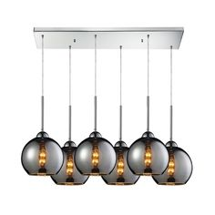 Mercury glass six-light multi-light pendant. Each light is adjustable in height allowing each light to be hung at varying heights.