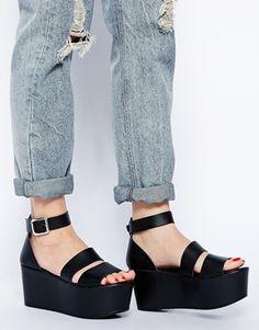 Enlarge ASOS HARVEST TIME Leather Flatform Sandals