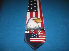 Mens Necktie Neck Tie US Patriotic Flag American Eagle United States Rene Chagal…