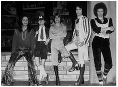 AC/DC's first photo session, July 7, 1974, outside Her Majesty's Theatre in Sydney. Left to right: Rob Bailey, Angus Young, Malcolm Young, Dave Evans, Peter Clack. (Philip Morris)
