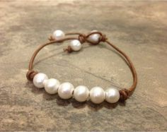 Freshwater Pearl and Leather Bracelet Mermaid 3 by AdiDesigns