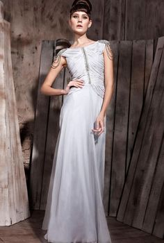Beau Silver Jewelled Evening Dress With Shred Embellishments