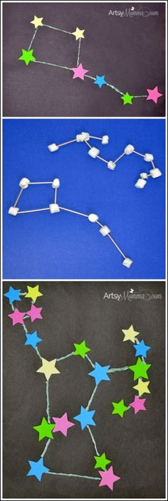 STEM Activities: Learning about Constellations - Crafts, Sculptures, & iPad App (Earth Science) Kid Science, Preschool Science, Preschool Crafts, Science Space, Fun Crafts, Science Activities, Science Projects, Outer Space Activities, Matter Activities