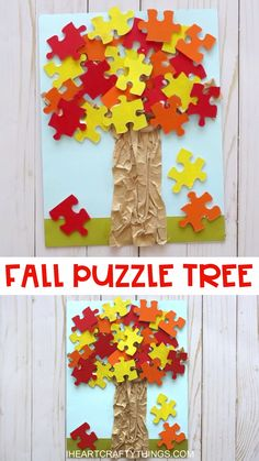 FALL PUZZLE TREE CRAFT -Have any puzzles with missing pieces laying around the house? Here is a fun way to use them to make a simple fall tree craft. Easy fall craft for preschoolers and kids of all ages! Visit our website for the full how-to tutoria Easy Fall Crafts, Fall Crafts For Kids, Fun Crafts, Kids Diy, Decor Crafts, Puzzle Crafts, Fall Crafts For Preschoolers, Fall Art For Toddlers, Fall Activities For Kids