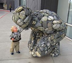 Gabion river stone #sculpture (and child)