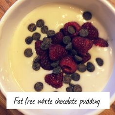 Low fat dessert option... Fat free White chocolate instant pudding with dark chocolate chips and raspberries