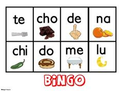 Bingo de las silabas - Wonderful picture cards for teaching syllables as well as playing bingo.  I will begin by cutting these up and introducing the syllables with the same vowels.