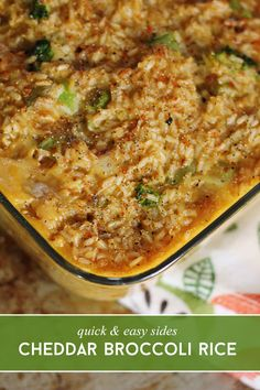 Quick & Easy Sides: Broccoli Cheddar Rice via @sheenatatum
