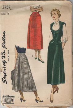 1949 Flared Mid Calf Skirt with Back Inverted Pleat and Weskit Simplicity 2757 Size 16