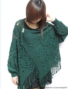 crochet motif cover-up, not english, charts & pics
