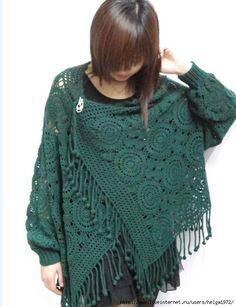 crochet motif cover-up, not english, charts & pics