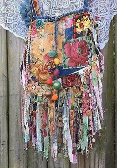 Feito à mão Crazy Quilts Franja Brim Bolsa Gypsy Boho Wow Flores Primavera Bolsa B. Joy