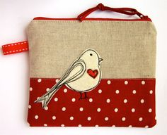 Make Up Bag, Cosmetic Case, Zip Purse, Bird Applique and Red Dots  $21.49