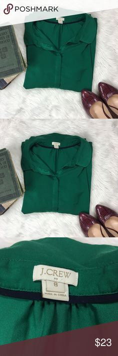 J. Crew Half Button Green Top Great condition, comfortable fabric J. Crew Tops Button Down Shirts