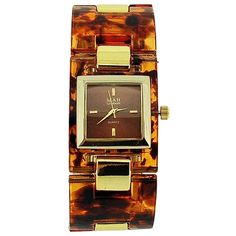 Mab London Ladies Brown Dial Brown Plastic & Yellow Gold Tone Square Strap Watch