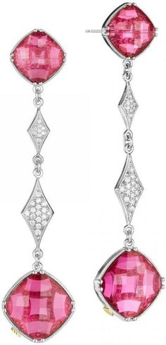 Tacori City Lights Style # SE17634.    Gorgeous clear quartz over red crystal cushion cut stones catch the eye with their vibrant color and prominence, while dazzling diamonds add extra glitz to these drop earrings.