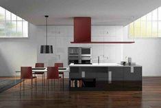 cocina moderna campana roja sillas