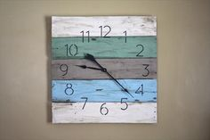 20 Simple and Easy Pallet Hanging Wall Clock Design | Pallets Furniture Designs