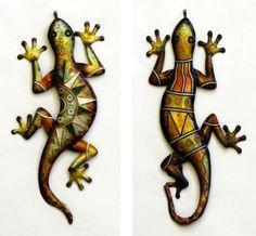 """19"""" Metal Garden Lizard Geckos Iguana Set of two."""
