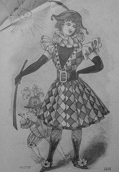 Harlequin Clown 1890's LaMode Illustree'