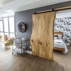 Barn door – wood slab… in the words of last pinner. I just want to say that th… Barn door – wood slab… in the words of last pinner. I just want to say that this is one beautiful wood slab 😉 I'll take it! Sweet Home, Diy Casa, Wood Slab, 1x4 Wood, Stain Wood, Tile Wood, Wood Art, Home Bedroom, Bedroom Beach