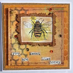 Card featuring images from Unity Company April's KOTM #unitystampcompany #mixedmedia #bee #card #handmade