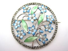 Vintage Guilloche Enamel Brooch - Sterling Silver and Marcasites - Forget Me Nots