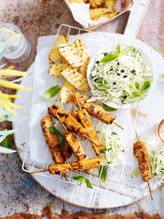 Satay and Coconut Chicken Breast Skewers with Green Apple Coleslaw and BBQ Kipfler Potatoes - Top Tips for Cooking the Perfect Chicken Eggs And Sweet Potato, Sweet Potato Recipes, Granny Smith, Apple Coleslaw, Bbq, Poached Chicken, Perfect Chicken, Coconut Chicken, Chicken Skewers