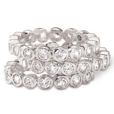 SusanB.Designs Cubic Zirconia Bezel-Set 3-Pc. Stackable Ring Set
