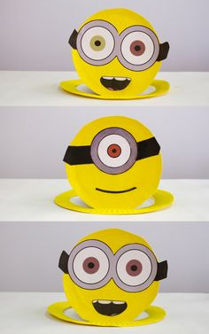 We just saw the new Minions movie, and the kids love it! My little minions wanted to make some minion-inspired crafts, so I came up with these quick paper pl. Minion Party, Minion Theme, Despicable Me Party, Elmo Party, Mickey Party, Dinosaur Party, New Minions Movie, Funny Minion, Craft Activities For Kids