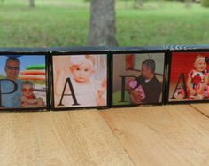 Grandpa Gift for Husband Gift Papa Gifts for Papa Grandparent Gifts Grandfather Gift Personalized mens Gifts for Grandpa Blocks - Set of 4