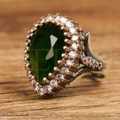 Hurrem Sultan Ring Tear Drop Shape Emerald Color Ottoman Silver Jewellery 925