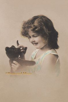 Girl With A Teddy Bear New 4x6 Vintage Image by PostcardMuse
