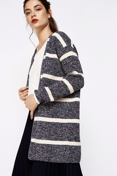 Springfield RIBBED CARDIGAN WITH STRIPES navy mix