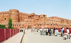 The outside walls of the Agra Fort of India.