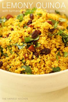 This Lemony Quinoa with Turmeric is one of my faves - great combo of flavors - lemon, turmeric, cilantro, almonds and raisins. @theharvestkitchen.com