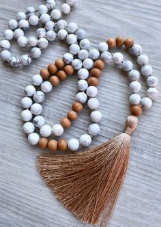 Patience Howlite and Sandalwood Mala 108 bead hand knotted tassel necklace meditation beads Chakra Yoga Long Necklace Handmade Necklaces, Handmade Jewelry, Diy Jewelry, Jewelry Necklaces, Talisman, Chakra Jewelry, Yoga Jewelry, Boho Necklace, Resin Necklace