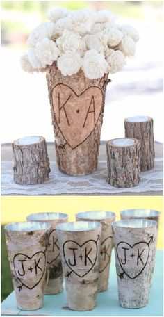 Personalized Birch Vase Rustic Custom Wedding Bridal Shower Christmas Gift