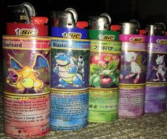 Spark up like a true Pokemaster by sliding your trusty Bic into one of these Pokemon lighter sleeves. Each handmade hard sleeve is designed to look exactly like a classic Pokemon card that's sure to make you the envy of all your geeky friends. Charmander, Charizard, Studio Ghibli, Cool Lighters, Custom Bic Lighters, Grunge, Spark Up, Pipes And Bongs, Kawaii