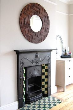 Edwardian fireplace, in a bedroom Wood Mirror, Diy Mirror, Edwardian Fireplace, Hearth Tiles, Wood Crafts, Diy Wood, Tile Design, Victorian Homes, Wood Projects