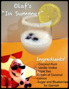 Young Adult Disney: Olaf's In Summer Cocktail - Cocktails Disney Cocktails, Disney Mixed Drinks, Holiday Cocktails, Cocktail Drinks, Fun Drinks, Yummy Drinks, Cocktail Recipes, Beverages, Olaf Summer