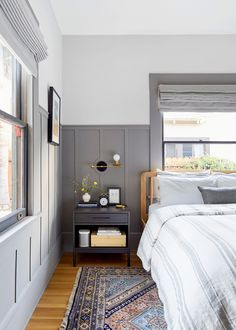 Vintage Bedroom Emily Henderson Golden Hive House Tour Bedroom with gray panel walls and colorful vintage rug Bedroom Sets, Home Decor Bedroom, Bedroom Wall, Wainscoting Bedroom, Bedroom With Gray Walls, Bed Room, Modern Bedroom, Painted Wainscoting, Child's Room