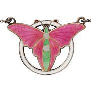 Art Deco Butterfly Enamel Sterling Silver Necklace