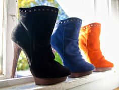 AVL 3/4 Suede Boot. Available in sizes 6 to 10 in Black, Rust & Blue (as shown) @ $44.99