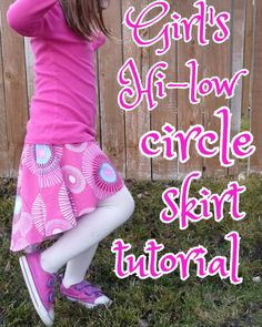 girl's hi low circle skirt sewing tutorial