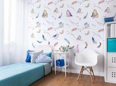 Kinderen Wallpaper Vogels geweven Vinyl behang.