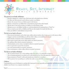 Discussing and enforcing this Family Internet Contract will help you protect your child on the internet.
