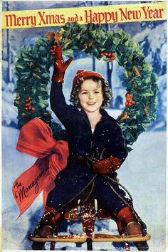 Shirley Temple Christmas in Hollywood vintage photo card